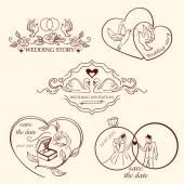 レトロな色のロゴを装飾結婚式のコレクション. — ストックベクタ