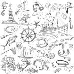 Hand-drawn elements of marine theme — Stock Vector #77207667