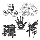 Set of icons healthy lifestyle — Stock Vector