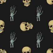 落書き頭蓋骨パターン — ストックベクタ