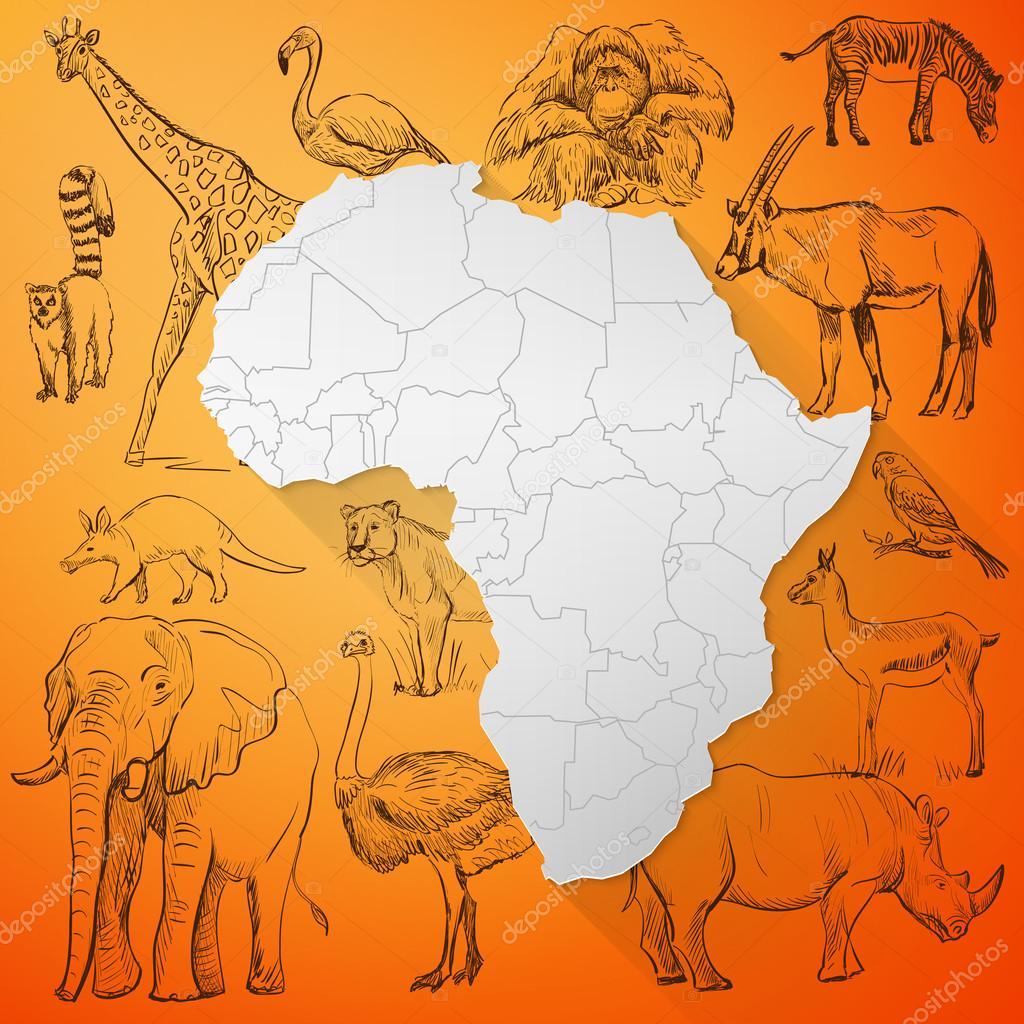 非洲地图和手画的动物