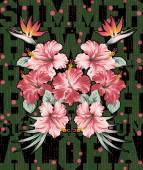 Hibiscus and strelitzia flowers — Vettoriale Stock
