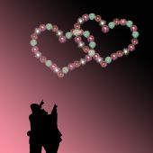 Couple watching heart firework  — Stock Photo