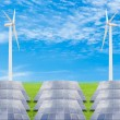Solar panels and wind turbine on green grass field against blue — Stock Photo #57242967