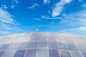 Solar panels against blue sky background — Stock Photo