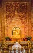 """Phra Sihing Buddha"" Thai gold buddha statue in Chiang Mai, Thai — Stock Photo"