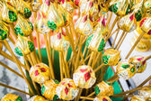Group of artificial colorful lotus buds — Stock Photo