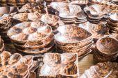 Variety shape of handmade wooden dishware — Stock Photo