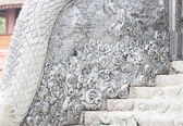 Beautiful wall of cement handicraft in temple Chiang Mai, Thaila — Stock Photo