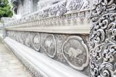 Rama grawerowanie srebrny lakier lanna tajski zodiaku w świątyni ch — Zdjęcie stockowe