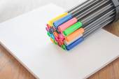 Colorful magic pens on sheet paper   — Stock Photo