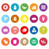 Variety bakery flat icons on white background — Stock Vector