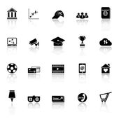 General online icons with reflect on white background — Vettoriale Stock