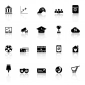 General online icons with reflect on white background — Vecteur