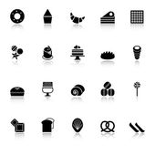 Variety bakery icons with reflect on white background — Stock Vector