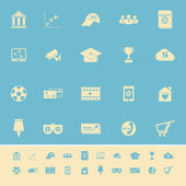 General online color icons on light blue background — Wektor stockowy