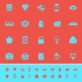Department store item category color icons on red background — Stock Vector