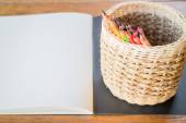 Artist sketchbook and colored pencils  — Stock Photo