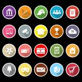 General online flat icons with long shadow — Stock Vector