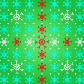 Create snowflake on green pattern background — Stock Vector