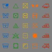 Fabric care sign and symbol color icons — Vettoriale Stock
