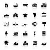 Hospitality business icons with reflect on white background — Stock Vector
