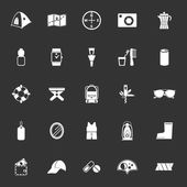Camping necessary icons on gray background — Stock Vector