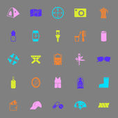 Camping necessary color icons on gray background — Stock Vector