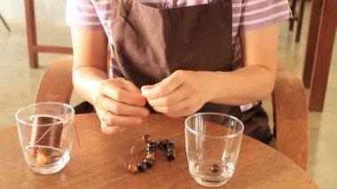 Beautiful handmade stone beads bracelet, Stock Video — Stockvideo