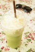 Glass of green tea latte frappe — Стоковое фото