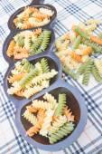 Multicolor fusilli prepare for pasta cuisine — Stock Photo