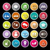 Sufficient economy flat icons with long shadow — Stock Vector