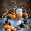 Classic Christmas Composition with Tangerines — Stock Photo #57430091