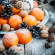 Christmas Tray with Tangerines, holiday decoration — Stockfoto #57430121