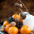 Composition with Tangerines, christmas decoration — Stockfoto #57430281
