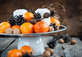 Christmas Horizontal Composition with Tangerines and Candles — Stock Photo