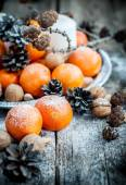 Christmas Tray with Tangerines, holiday decoration — Stock Photo