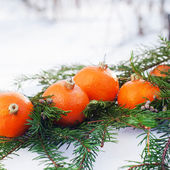 Russian Tradition to Eat Tangerines at New Year — Stock Photo