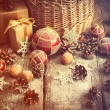 Vintage Toned Image with Christmas Gifts in Magic Lights — Foto Stock #58563461