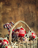 Christmas Composition with Vintage Gifts. Copy space — Stock Photo