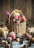 Brights Christmas Toys with New Year gifts. Rural style — Stock Photo