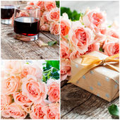 Set with Bouquet of  Pink Roses and Two Glasses of Red Wine — Stock Photo