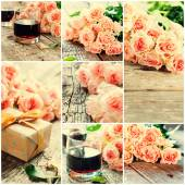 Set with Tender Pink Roses, Wine, gift Box, toned effect — Stock Photo