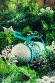 Two Silver Bright Balls with Pine Cones and Fir Tree — Stock Photo