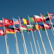 Flags on flagpoles fluttering in the wind — Stock Photo #70036053