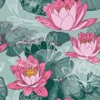 Seamless floral pattern with blooming water lilies — Stock Vector #54760355