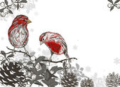 Christmas hand drawn background for xmas design with winter bird — ストックベクタ