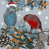 Christmas seamless pattern with winter birds — ストックベクタ