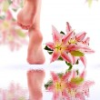 Female feet and Pink lily with reflection in water — Stockfoto #65996017