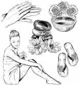 Verzameling van schoonheid en gezondheidszorg spa illustraties — Stockvector